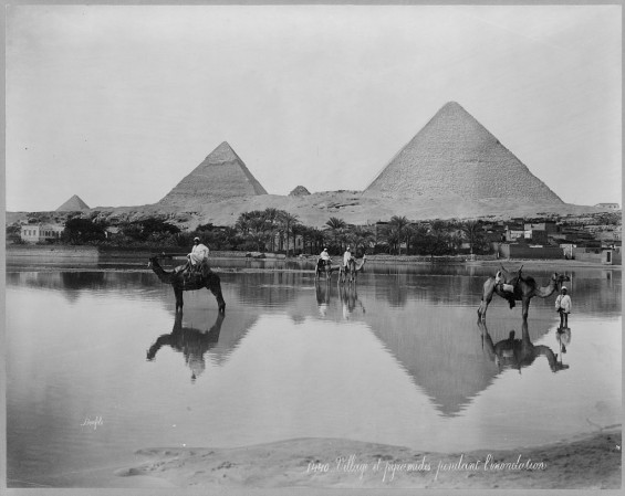 Egypt. Village and pyramids during the flood-time. ca. 189-,  Source: loc.gov