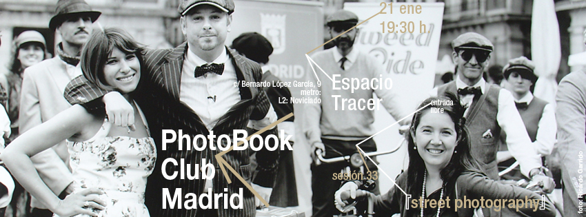 anuncio para la sesión 33 del PhotoBook Club Madrid, en Espacio Tracer Madrid, 21.01.2014